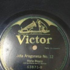 Discos de pizarra: MARÍA BLASCO. JOTA ARAGONESA 11 & 12 GUITARRA: E. GARCÍA. Lote 260764520