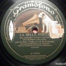 Discos de pizarra: GRAMÓFONO W 264364 LA BELLA RISETA - CADENAS A. MAS, LEO FALL - SALIDA, REY PEDRO, SRTA, CREHUET. Lote 261527790