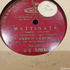 Discos de pizarra: 78 RPM ENRICO CARUSO MATTINATA. Lote 261535350