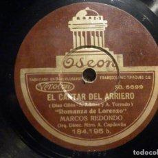 Discos de pizarra: ODEON 184.195 - EL CANTAR DEL ARRIERO - SOY ARRIERO - ROMANZA DE LORENZO - MARCOS REDONDO. Lote 261564875