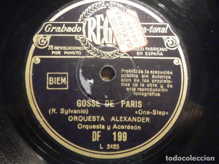PIZARRA REGAL DF 199 - ORQUESTA ALEXANDER - DE PELÍCULA SOUS LES TOITS DE PARIS - GOSSE DE PARIS (Música - Discos - Pizarra - Bandas Sonoras y Actores )