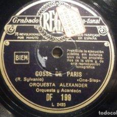 Discos de pizarra: PIZARRA REGAL DF 199 - ORQUESTA ALEXANDER - DE PELÍCULA SOUS LES TOITS DE PARIS - GOSSE DE PARIS. Lote 261570965