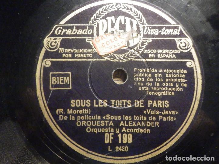 Discos de pizarra: Pizarra Regal DF 199 - Orquesta Alexander - De película Sous les toits de Paris - Gosse de Paris - Foto 3 - 261570965