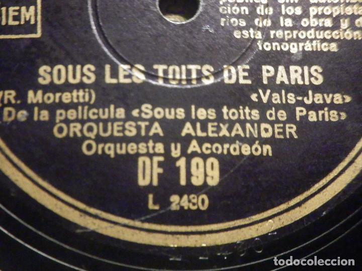 Discos de pizarra: Pizarra Regal DF 199 - Orquesta Alexander - De película Sous les toits de Paris - Gosse de Paris - Foto 4 - 261570965