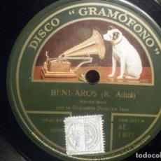 Discos de pizarra: PIZARRA GRAMÓFONO AE 1402 - ORQUESTA DEMONA JAZZ - BENI AROS - MARCHA MORA - ¡ OYE TÚ !. Lote 261575470