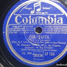 Discos de pizarra: PIZARRA COLUMBIA LF 124 - FRASQUITA - TENOR M. GEORGES THILL - MADE IN FRANCE. Lote 261585855