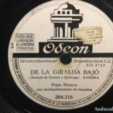 Discos de pizarra: DISCO PIZARRA- DE LA GIRALDA BAJÓ / EL GAZPACHO. PEPE BLANCO. FLAMENCO- ( REF.4). Lote 261635735