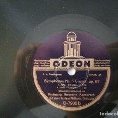 Discos de pizarra: 78 RPM BEETHOVEN SYMPHONIE NR. 5 GENERALMUSIKDIREKTOR PROFESSOR HERMANN ABENDROTH ODEON. Lote 261950815