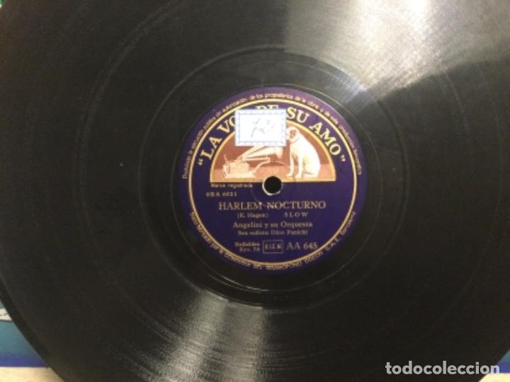 DISCO PIZARRA - RUMBA AZUL - ANGELINI Y SU ORQUESTA - HARLEM NOCTURNO (REF,61) (Música - Discos - Pizarra - Flamenco, Canción española y Cuplé)