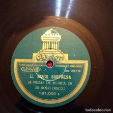 Discos de pizarra: EL DISCO SORPRESA, PIZARRA, 6 PIEZAS DE MUSICA EN UN SOLO DISCO, ODEÓN 181.190, EXCELENTE ESTADO. Lote 262733190