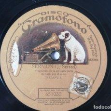 Discos de pizarra: JOSÉ SERRED - SERMÓN / LA RISA - GRAMÓFONO 651030. Lote 263226500