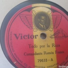 Discos de pizarra: 78 RPM COMANDANTE RAMÓN FRANCO. Lote 263637020