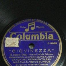 Discos de pizarra: DISCO 78RPM GIOVINEZZA / BALILLA. Lote 263688600