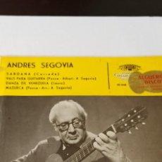 Discos de pizarra: DISCO DE GRAMÓFONO ANDRES SEGOVIA GUITARRA. Lote 265498269