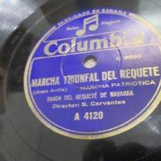 Discos de pizarra: MARCHA TRIUNFAL DEL REQUETÉ, Y BOINAS ROJAS. BANDA DEL REQUETÉ DE NAVARRA, CARLISMO. Lote 265752649