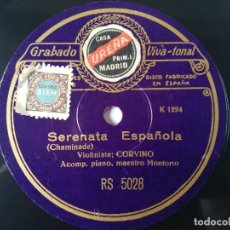 Dischi in gommalacca: ABELARDO CORVINO, SOLO VIOLIN - SERENATA ESPAÑOLA / ARIETA ESPAÑOLA. Lote 267261349