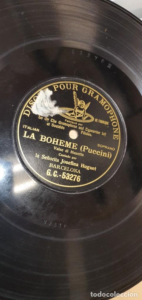 DISCO 78 RPM - GRAMOPHONE - OPERA - JOSEFINA HUGUET - LA BOHEME (PUCCINI) - PIZARRA (Música - Discos - Pizarra - Clásica, Ópera, Zarzuela y Marchas)
