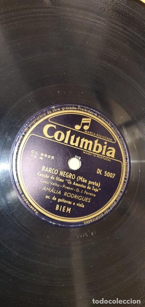 DISCO 78 RPM - COLUMBIA - FADO - PORTUGAL - AMALIA RODRIGUES - SOLIDAO / BARCO NEGRO - PIZARRA (Música - Discos - Pizarra - Solistas Melódicos y Bailables)