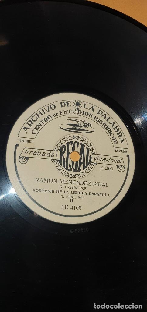 DISCO 78 RPM - ARCHIVO DE LA PALABRA - REGAL - RAMÓN MENÉNDEZ PIDAL - PIZARRA (Música - Discos - Pizarra - Otros estilos)
