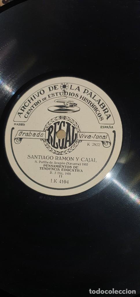 DISCO 78 RPM - ARCHIVO DE LA PALABRA - REGAL - SANTIAGO RAMÓN Y CAJAL - PIZARRA (Música - Discos - Pizarra - Otros estilos)