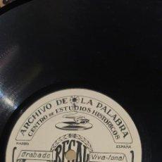 Discos de pizarra: DISCO 78 RPM - ARCHIVO DE LA PALABRA - REGAL - SANTIAGO RAMÓN Y CAJAL - PIZARRA. Lote 267507284