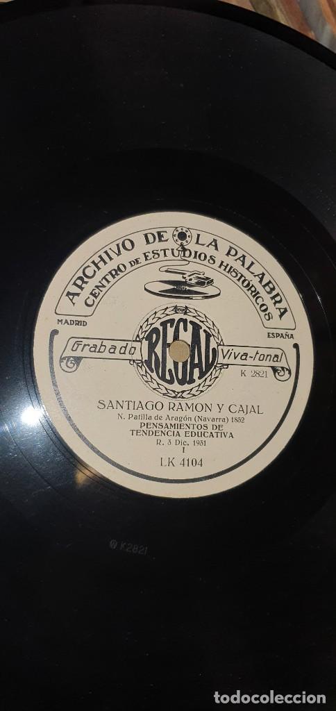 Discos de pizarra: DISCO 78 RPM - ARCHIVO DE LA PALABRA - REGAL - SANTIAGO RAMÓN Y CAJAL - PIZARRA - Foto 2 - 267507284