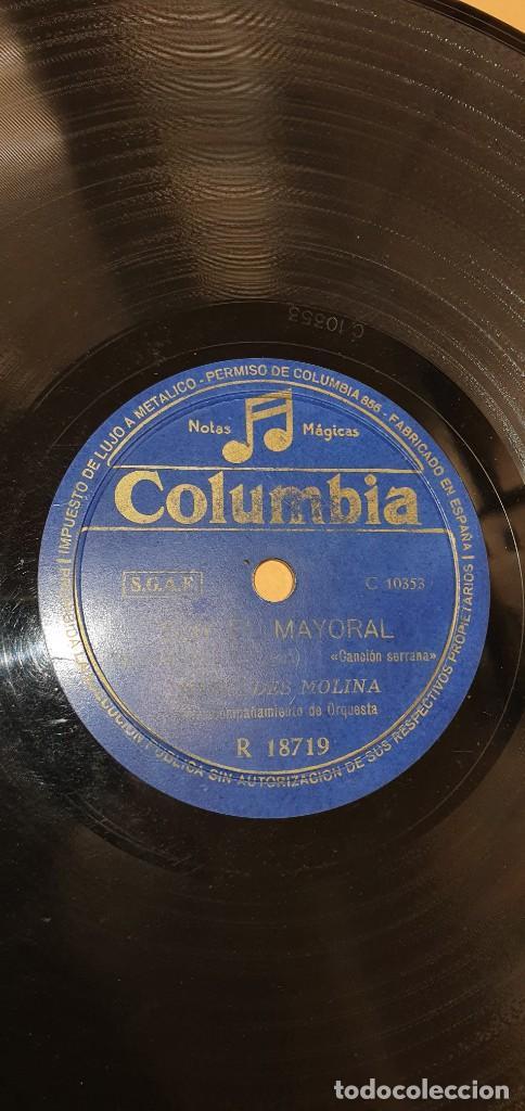 DISCO 78 RPM - MERCEDES MOLINA - COLUMBIA - LA PLAYA MALAGUEÑA / SOY EL MAYORAL - PIZARRA (Música - Discos - Pizarra - Flamenco, Canción española y Cuplé)