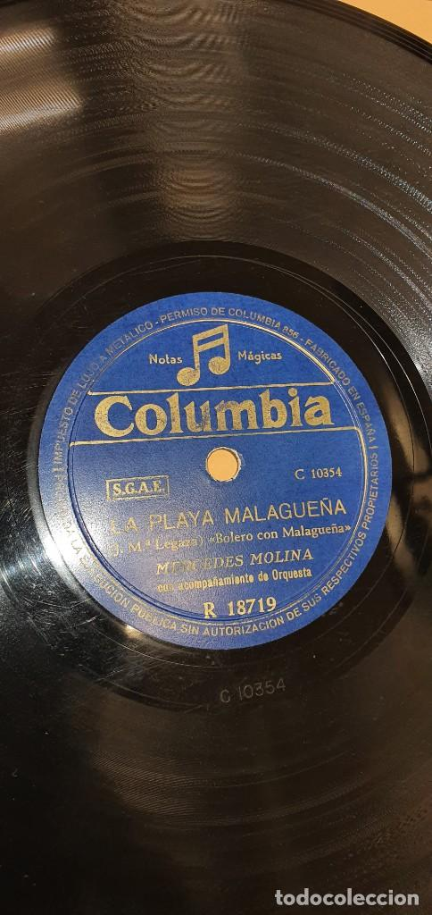 Discos de pizarra: DISCO 78 RPM - MERCEDES MOLINA - COLUMBIA - LA PLAYA MALAGUEÑA / SOY EL MAYORAL - PIZARRA - Foto 2 - 267508679