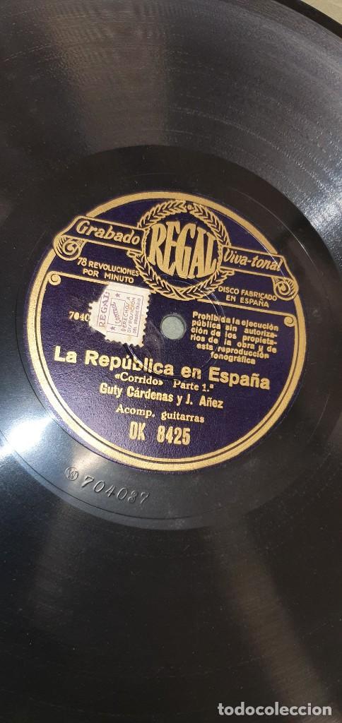 DISCO 78 RPM - GUTY CÁRDENAS & J. AÑEZ CON GUITARRAS - LA REPÚBLICA EN ESPAÑA - PIZARRA (Música - Discos - Pizarra - Otros estilos)