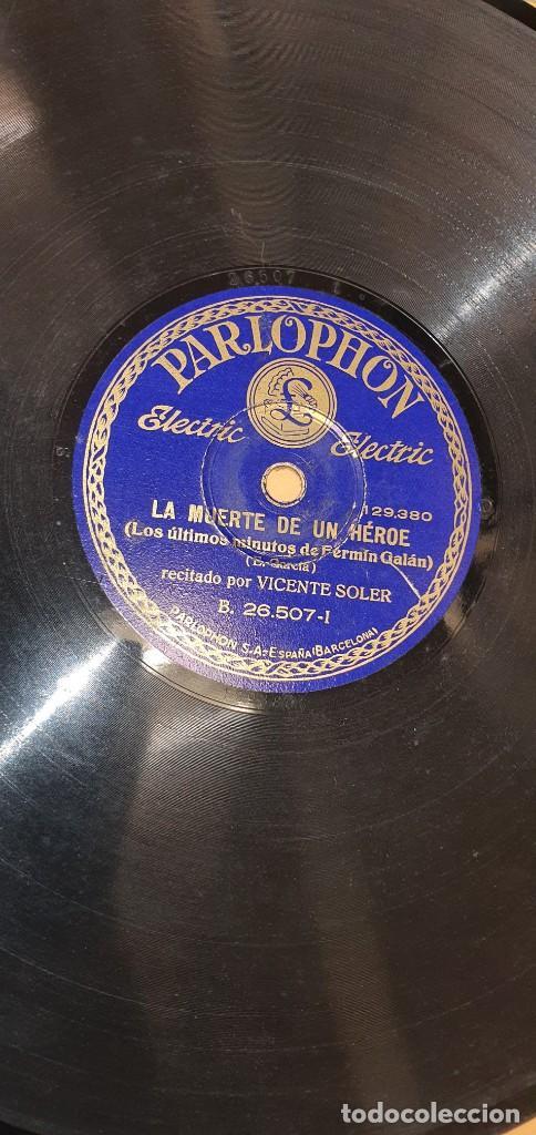Discos de pizarra: DISCO 78 RPM - VICENTE SOLER - REPÚBLICA - FERMÍN GALÁN - HÉROE DE JACA - PIZARRA - Foto 2 - 267510944