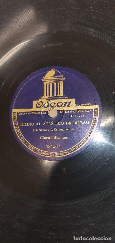 DISCO 78 RPM - CINCO BILBAÍNOS - HIMNO AL ATHLETIC DE BILBAO / BILBAO Y SUS PUEBLOS - FÚTBOL PIZARRA (Música - Discos - Pizarra - Otros estilos)