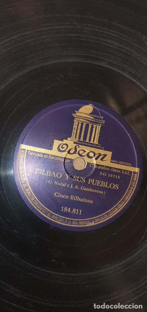 Discos de pizarra: DISCO 78 RPM - CINCO BILBAÍNOS - HIMNO AL ATHLETIC DE BILBAO / BILBAO Y SUS PUEBLOS - FÚTBOL PIZARRA - Foto 2 - 267511529
