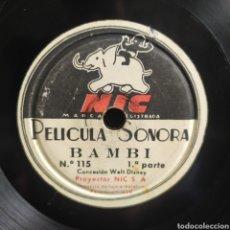 Discos de pizarra: PELICULA SONORA - BAMBI 1RA Y 2DA PARTE. Lote 268264029