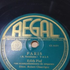 Discos de pizarra: EDITH PIAF PARIS. Lote 270168798