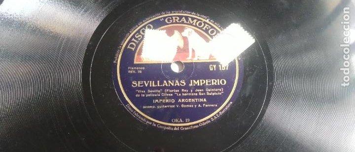Discos de pizarra: DISCO DE PIZARRA, SEVILLANAS IMPERIO/ TIENTOS. IMPERIO ARGENTINA. PELÍCULA LA HERMANA SAN SULPICIO. - Foto 2 - 270637743