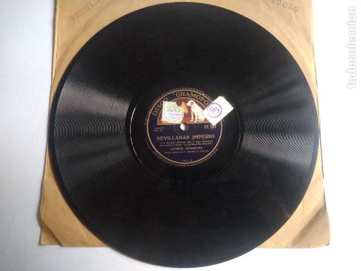 Discos de pizarra: DISCO DE PIZARRA, SEVILLANAS IMPERIO/ TIENTOS. IMPERIO ARGENTINA. PELÍCULA LA HERMANA SAN SULPICIO. - Foto 3 - 270637743