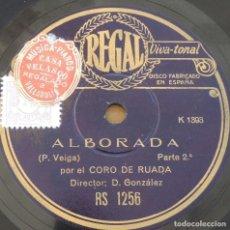 Discos de pizarra: DISCO DE PIZARRA POR EL CORO DE RUADA (DIRECTOR D GONZÁLEZ): ALBORADA (P. VEIGA), PARTES 1 Y 2, RS 1. Lote 273501613