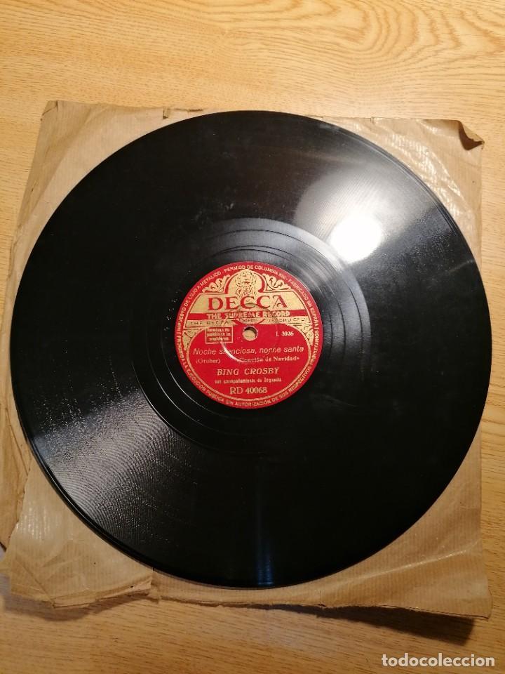 Discos de pizarra: Disco de pizarra Bing Crosby Decca Adeste Fidelis y noche silenciosa. Rd 40068 - Foto 3 - 274191928