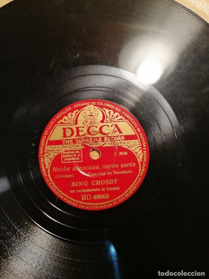 Discos de pizarra: Disco de pizarra Bing Crosby Decca Adeste Fidelis y noche silenciosa. Rd 40068 - Foto 4 - 274191928