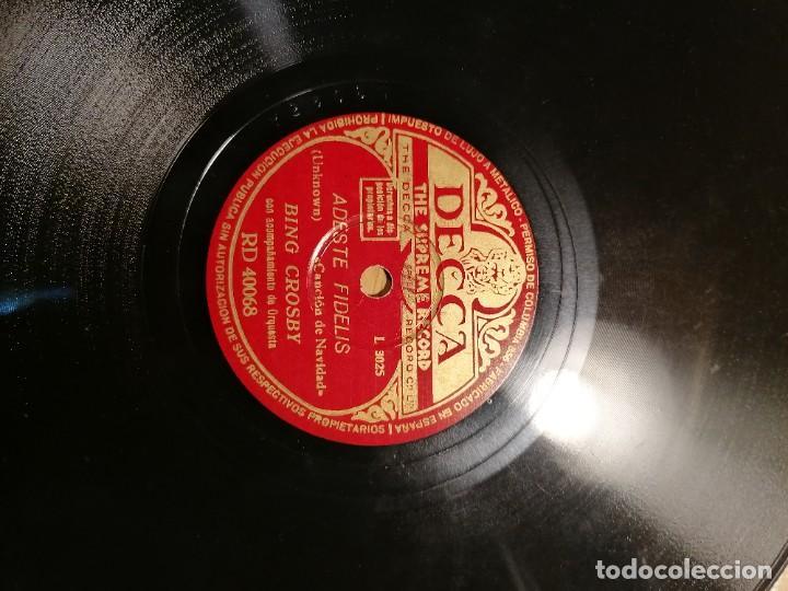 Discos de pizarra: Disco de pizarra Bing Crosby Decca Adeste Fidelis y noche silenciosa. Rd 40068 - Foto 5 - 274191928