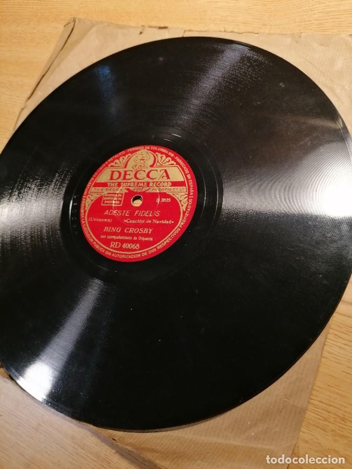 Discos de pizarra: Disco de pizarra Bing Crosby Decca Adeste Fidelis y noche silenciosa. Rd 40068 - Foto 6 - 274191928