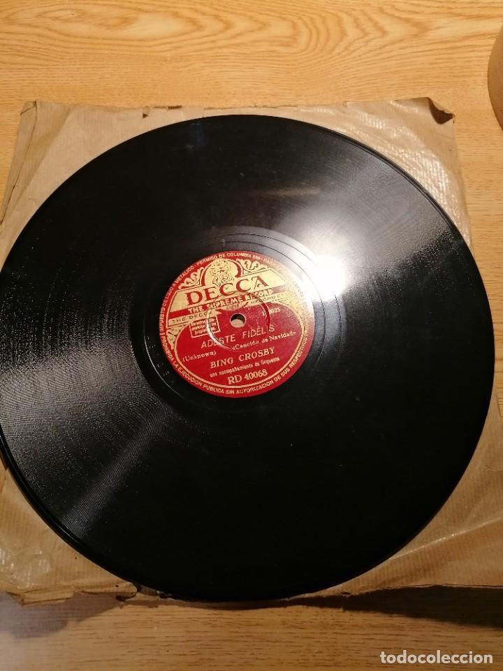 Discos de pizarra: Disco de pizarra Bing Crosby Decca Adeste Fidelis y noche silenciosa. Rd 40068 - Foto 7 - 274191928
