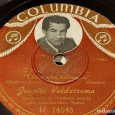 Discos de pizarra: PIZARRA !! JUANITO VALDERRAMA / CHURUMBEL / COLUMBIA / LEER. Lote 274857303