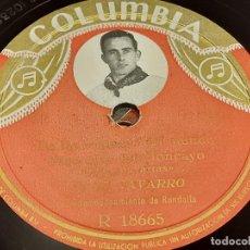 Disques en gomme-laque: PIZARRA !! JUAN NAVARRO / JOTAS NAVARRAS / COLUMBIA / LEER. Lote 274858618