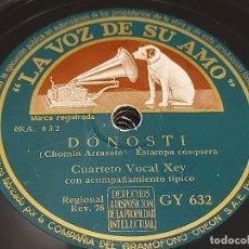 Discos de pizarra: PIZARRA !! CUARTETO VOCAL XEY / DONOSTI - POLITA / LA VOZ DE SU AMO / LEER. Lote 274863028