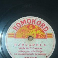 Disques en gomme-laque: SR. CRESPO. SERENATA. AMOR GITANO. BARCAROLLA DE CONTRERAS. Lote 275164993