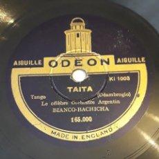 Discos de pizarra: PIZARRA. 78 RPM. ODEON. 165000/1. ORQUESTA BIANCO BACHICHA. TAITA - ASERRIN ASERRAN. Lote 276078993
