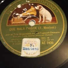 Discos de pizarra: PIZARRA 78 RPM. DISCO GRAMÓFONO AE 2430.TRIO ARGENTINO IRUSTA. QUE MALA FUISTE/DEL INFIERNO ADELANTE. Lote 276112473