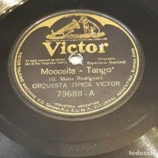 Discos de pizarra: PIZARRA 78 RPM. SELLO VICTOR. Nº CAT: 79688 A/B. ORQUESTA TIPICA VICTOR. MOCOSITA - ACORDATE. Lote 276118813