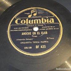 Discos de pizarra: PIZARRA 78 RPM. COLUMBIA. Nº CAT: DF 423. ORQUESTA TIPICA MAFFIA. ANOCHE EN EL CLUB - AFREANDO. Lote 276121743